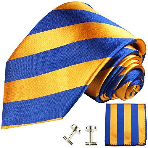 Cravate bleu orange rayée ensemble de cravate 3 Pièces ( 100% Soie Cravate + Mouchoir + Boutons de manchette )