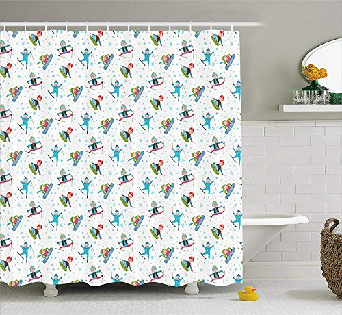 tgyew Winter Shower Curtain, Snowboard and Ski Sports Pattern with Snowflakes Background Cartoon Drawing Style, Cloth Fabric Bathroom Decor Set with Hooks, 60 * 72inch Long, Multicolor -