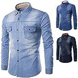 JPDD Mens Long Sleeved Denim Shirt Slim Fit Men's Thick Denim Jean Shirt Button Down Shirt Stretch Cotton Top Mens Oxford Cas
