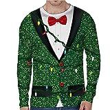 FN007 Herren Herbst und Winter Digitaldruck Weihnachten Rundhalsausschnitt langärmeliges T-Shirt 3D Weihnachtsdruck langärmliger O-Ausschnitt Sporthemd Punkt dreidimensionales Hemd (Dunkelgrün, L)