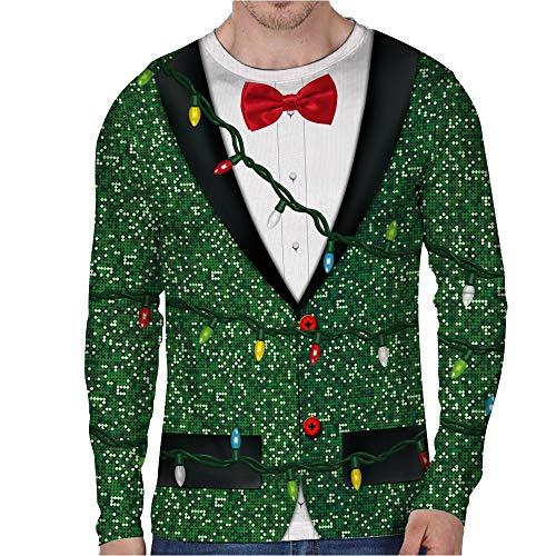 rren 3D Weihnachten Druck Oansatz Pullover Hemd LED-Licht Druck Bild Pullover Causal Rundhals Sweater Strickpullover Weihnachtspullover Mit Rundhalsausschnitt ()