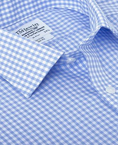 TM Lewin Herren Business-Hemd, Kariert Blau - Blau
