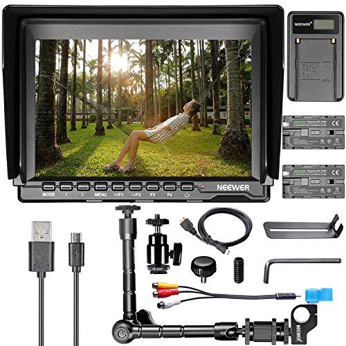 Neewer 7 Zoll NW759 HD-Kamera-Monitor-Set: (1) 1280x800 IPS Schirm-Kamera-Feldmonitor + (1) 11,8 Zoll magischen Arm + (1) USB-Ladegerät + (2) F550 Ersatz-Akku für Sony Canon Nikon