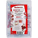 fischer MEISTER-BOX DUOPOWER + Schraube, Werkzeugkiste mit 160 Dübeln und Schrauben, Universaldübel, praktisches Set, Dübelki