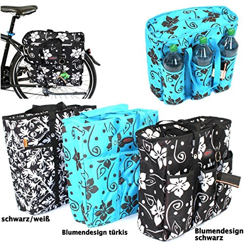 Fahrradtasche- Kühltasche versch. Modelle + kostenloser Versand / Kühltasche Gepäckträgertasche Fahrradkühltasche Gepäcktasche (Blumendesign Türkis)
