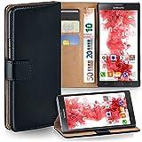 moex Samsung Galaxy Note 4 | Hülle Schwarz mit Karten-Fach 360° Book Klapp-Hülle Handytasche Kunst-Leder Handyhülle für Samsung Galaxy Note 4 Case Flip Cover Schutzhülle Tasche