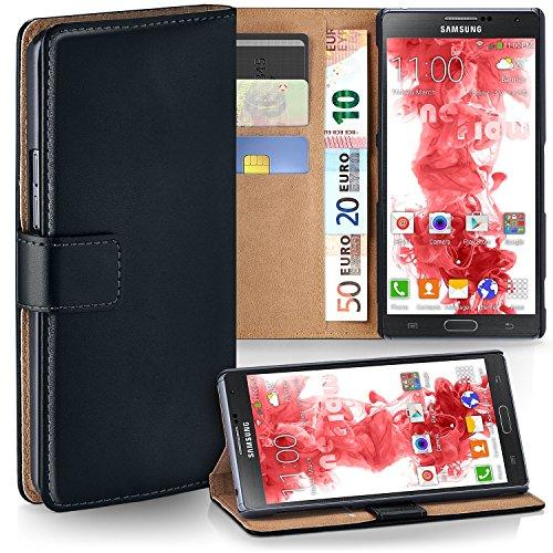 Samsung Galaxy Note 4 Hülle Schwarz mit Karten-Fach [OneFlow 360° Book Klapp-Hülle] Handytasche Kunst-Leder Handyhülle für Samsung Galaxy Note 4 Case Flip Cover Schutzhülle Tasche (Handy Cover Galaxy Note 4)