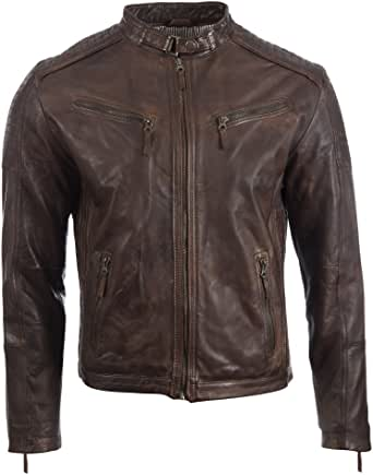 Aviatrix Men's Super Soft Real Leather Fashion Jacket with Side Detailing (VO3W)