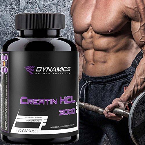 Dynamics Nutrition - Creatin HCL 3000 - 120 Kapseln Muskelaufbau Kraftsteigerung Muskelmasse aufbauen Kreatin Kapseln