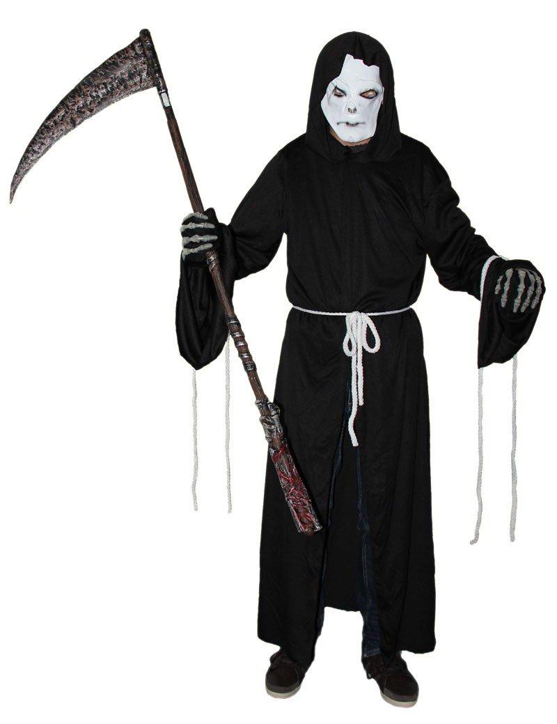 Foxxeo Sensemann Kostüm mit Maske für Herren - Größe S-XXXL - Sensenmann Halloween Kaputzen Umhang Karneval Fasching…