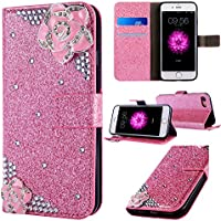 iPhone 6 Plus Leather Case,iPhone 6S Plus Flip Wallet Case,iPhone 6 Plus/ 6S Plus Cover with 5.5 inch,Cool 3D Rose Bling Glitter Diamond Pattern Leather Stand Function Flip Kickstand Magnetic Book Wallet with Card Slot Holder Protective Cover Case for Apple iPhone 6S/6 Plus
