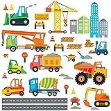 Decowall DW-1612 Sito di Costruzione Automobili Adesivi da Parete Decorazioni Parete Stickers Murali Soggiorno Asilo Nido Camera da Letto per Bambini