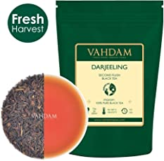 Vahdam Organic Darjeeling Loose Leaf Second Flush Black Tea Rich & Flavored[(150+ Cups), 255gm]