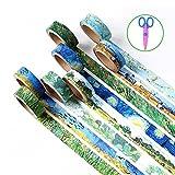 6Stück Dekorative Washi Tape, wordmo DIY japanischen Washi Masker Klebeband für Kunst, Handwerk, Büro, Geschenkverpackungen Van Gogh (6 Pack)