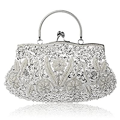 Collection Antique Floral Seed Bead Sequin Soft Clutch Evening Bag Designer Purse Large Clutch Handbag