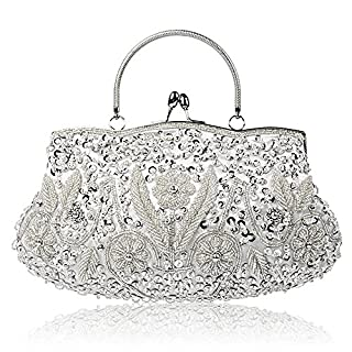 Collection Antique Floral Seed Bead Sequin Soft Clutch Evening Bag Designer Purse Large Clutch Handbag (Silver)