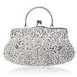 Damen Handgemachte Perle Handtasche, Abendtasche Damen Clutch Für Party, Hochzeit (Silber)