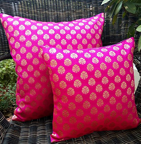 Premium Quality 'HOT PINK & GOLDEN' Brocade Cushion Covers (Set of 2) (16