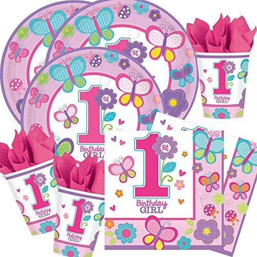48-teiliges Party-Set 1. Geburtstag Mädchen Sweet Birthday Girl - Teller Becher Servietten mit Schmetterlingen und Blumen für 16 Personen