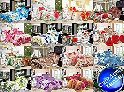 Duvet cover set 3d Quilt cover set 3 PCS Bedding Animal Floral Rose 55 gsm NEW - cheap UK light store.