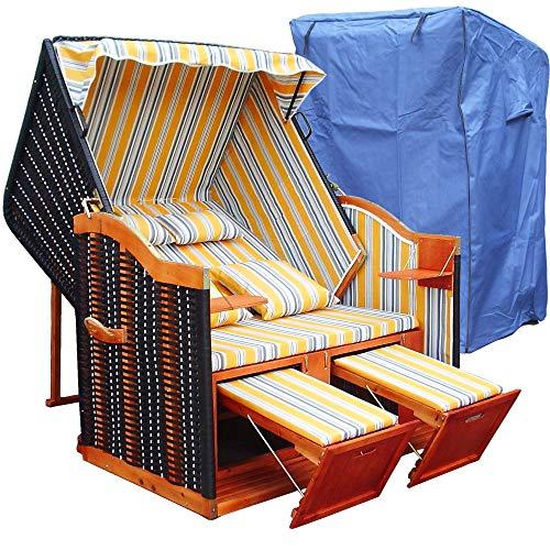 XINRO® - XY-53 - Strandkorb inkl. Premium Strandkorb Schutzhülle Luxus Gartenliege Sylt Ostsee Volllieger, gelb Blau gestreift, Form Ostsee