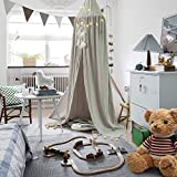 Children Bed Canopy Round Dome, Cotton Mosquito Net, Kids Princess Play Tents, Room Decoration for Baby (grey)