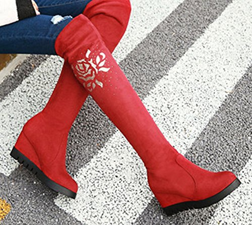 Tige Uubqrsxw Aisun Strass Chic Femme Rouge Genou Bottes Haute wOCSq