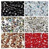 300 pcs 6 couleurs Tchèque Perles en verre Fire-Polished Rond 6mm, Set 601 (6FP001 6FP002 6FP003 6FP007 6FP008 6FP012)...