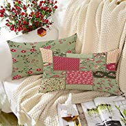 BRICK HOME Peachpatch Multicolor Printed Canvas Cotton Cushion Cover, 12X18 Inches, Set of 2