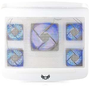 SKGAMES Notebook Laptop Kühler Gamer Kühlpad Ständer Kühlmatte Cooler Cooling Pad Unterlage für 10 - 17 Zoll, 5 x LED Lüfter, 2 x AN/AUS Schalter, 2 x USB-Port, Weiß