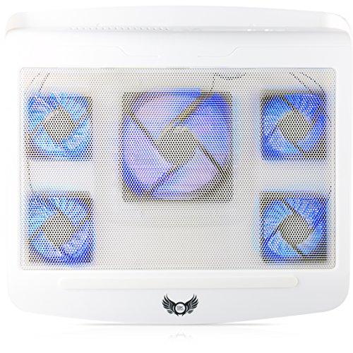 SKGAMES Notebook Laptop Kühler Gamer Kühlpad Ständer Kühlmatte Cooler Cooling Pad Unterlage für 10 - 17 Zoll, 5 x LED Lüfter, Weiß