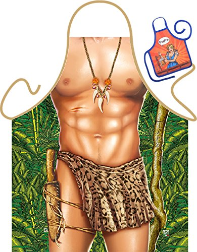 Tarzan Motiv Kochschürze sexy Tarzan Kostüm Schürze : Tarzan -- Themenschürze mit Minischürze für Flaschen (Tarzan Kostüm Bilder)