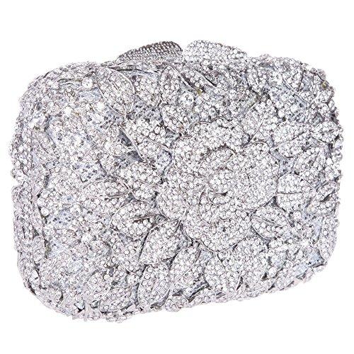 Santimon Donee Clutch Peonia Fiore Strass Diamante Cristallo Clutch Da Festa di Nozze Sera Con Tracolla Amovibile 7 Colori Argento
