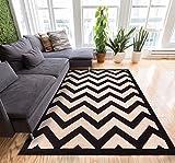 Tapis moderne Nido géométrique - Carrés multicolores - Petite zone 2x 3m - Entretien facile et sans peluche, Synthétique, Noir/camel, 7'10 x 9'10
