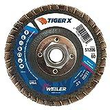 """Weiler 51206Tiger x disco lamellare, in ceramica e zirconia Alumina, ad angolo, Phenolic backing, 60Grit, 4–1/5,1cm """"5/20,3cm -11Unc dado (confezione da 10)"""