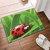 Coccinella sulle foglie verdi Tappeti da bagno per bambini, zerbino antiscivolo, pavimento da ingresso, tappetino da bagno per esterno, vasca da bagno per bambini, 40x60cm, accessori per il bagno