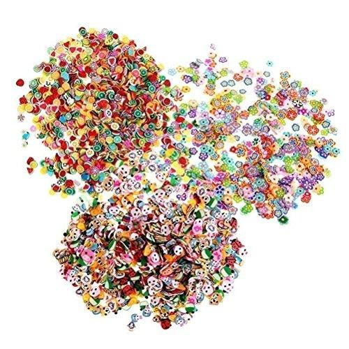3D-Nagelsticker aus Fimo-Schichten, Früchte, Tiere, Blumen, von HONGTIAN