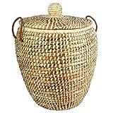Wäschekorb Mediterran mit Deckel 50x60cm | Handarbeit | Fair Trade (Mehrfarbig)