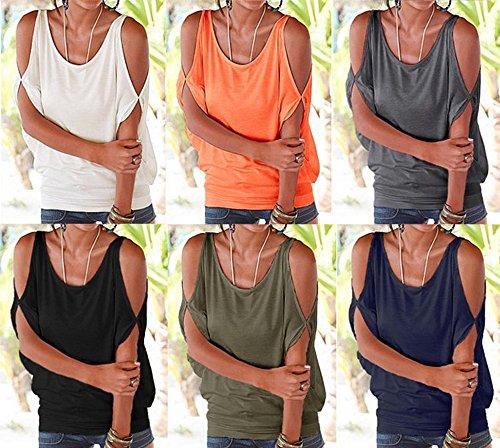 Mangotree Oberteile Kurzarm Batwing T-Shirt Tops Damen Schulterfreies Bluse Tunika Tanktop Grau