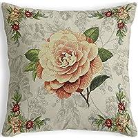 Provencestoffe.com Rústico tapiz almohada con lachsfarbenen rosas, doble cara diseño, aprox. 51x 51cm