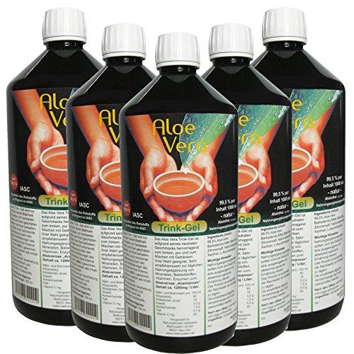 Aloe Vera, Trink-Gel, 99.5{a2da947a2cb4c458b61676b663a1013b67af49955afe68121dda5e373ae31148} natur pur, 5 Liter Vorratspack #30002