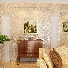 Papier peint Textile non-tissé 3D anaglyphe hydrofuge Style roman naturel Stickers décoration murale pour maison chambre Salon bureau (crème)