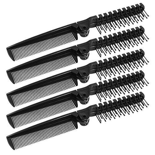 SODIAL(R) Plastique Noir Double Tetes Pliable Cheveux Droites Beaute Peigne 5 Pcs