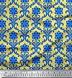 Soimoi Giallo Velluto Tessuto Floreale Damasco Tessuto Stampato dal Metro 60 Pollici Larghi