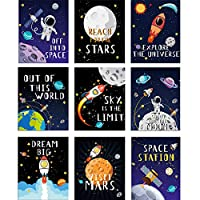 Blulu 9 Pieces Outer Space Décor Kids Nursery Bedroom Space Posters Decor, 8 x 10 Inch, Cute Inspirational Wall Art Decoration for Boys and Girls Playroom Bedroom Nursery Room Décor