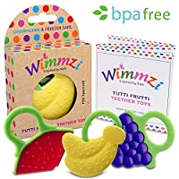 Baby & Infant Teething Pain & Gum Soreness Relief Educational Toy Massaging Teethers Set Of 3 By WIMMZI - Premium Quality, Durable, Food Grade, BPA Free, Silicone - Fruit Patterns, Ergonomic Ring Design - Striking Colors - Freezer & Dishwasher Safe