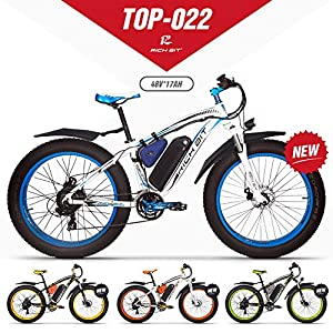 61HQTb9TQXL. SS300 RICH BIT Bicicletta elettrica da Uomo E-Bike Fat Snow Bike 1000W-48V-17Ah Li-Batteria 26 * 4.0 Mountain Bike MTB Shimano 21-velocità Freni a Disco