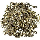 125 Stück antike Bronze Vintage Skelett Schlüssel Anhänger DIY Halskette Anhänger für handgemachten Schmuck machen Hochzeit Party gefallen & Geburtstagsparty