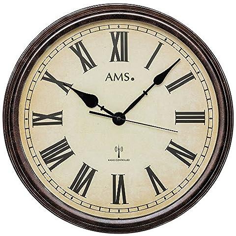 AMS 5977Horloge radio murale Style Vintage - Boîtier en métal effet bois patiné - Horloge décorative avec chiffres romains