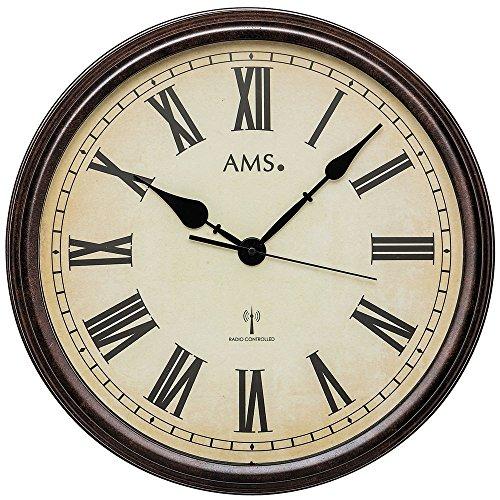 AMS 5977 Wanduhr Funkuhr Wand Vintage Uhr Style Metallgehäuse in antiker Holz-Optik Dekouhr mit römischen Ziffern
